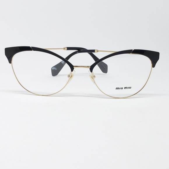 144834d41b9 Miu Miu Rx Eyeglasses Matte Black Gold Frame